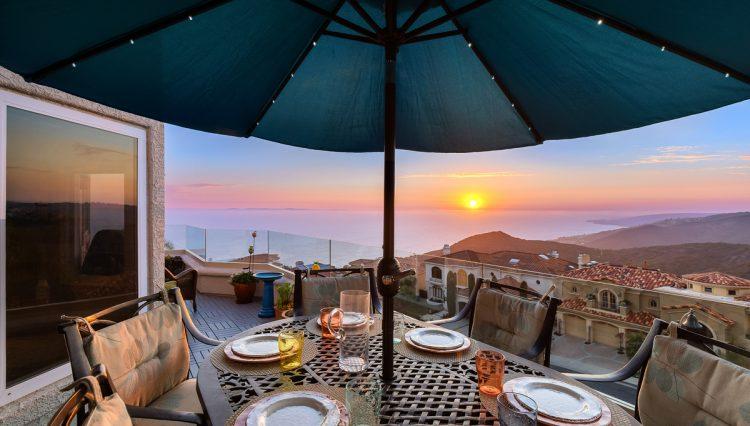 patio umbrella sunset